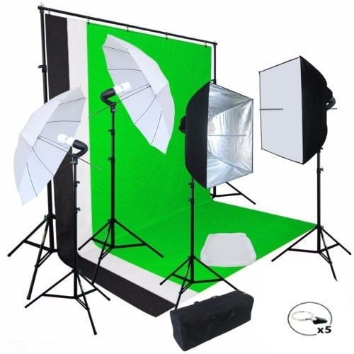 Kit Fotográfico Estudio Profesional Fotografía Sombrillas Set Softbox