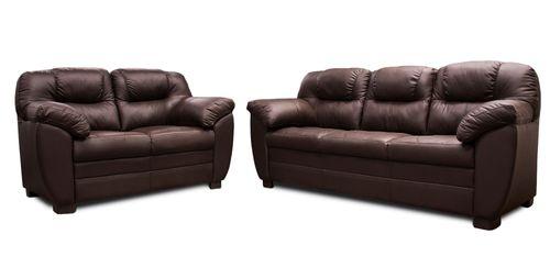Sala de Piel Genuina Toscana Sofa y Love Seat