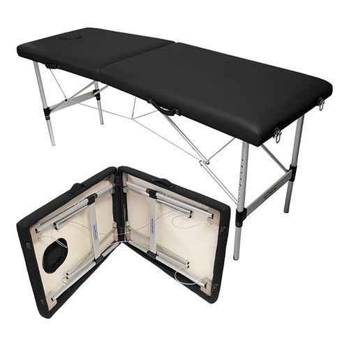 Cama Masaje Plegable Metálica  110 kg Ajustable Negro Tatuajes Terapeuta Base Acero