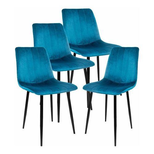 Silla Tapizada Kit 4 Sillas Eames Azul Recta Vintage Comedor