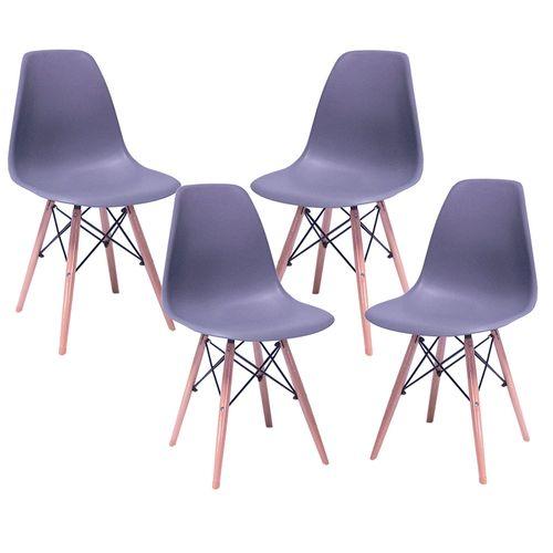 Silla Eames Kit 4 Sillas Comedor Decoracion Hogar Minimalista Gris