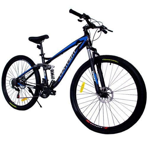 Bicicleta Aluminio R29 Montaña 21 Velocidades Shimano Amortiguador Profesional Azul