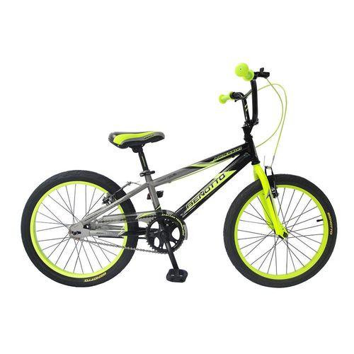 Bicicleta Infantil Benotto Agressor R20 1V Negro con Verde Limón