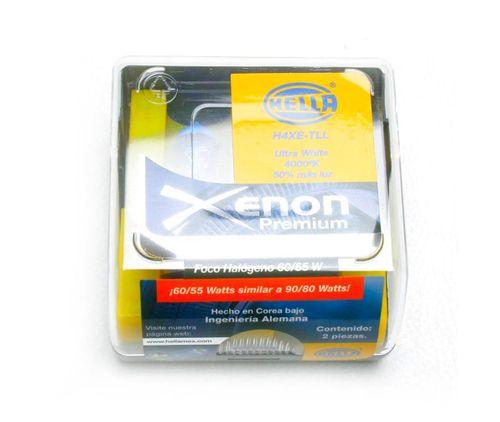 Foco H4 Hella Luz Blanca Tipo Xenon Premium 60-55 Watts 2 Focos