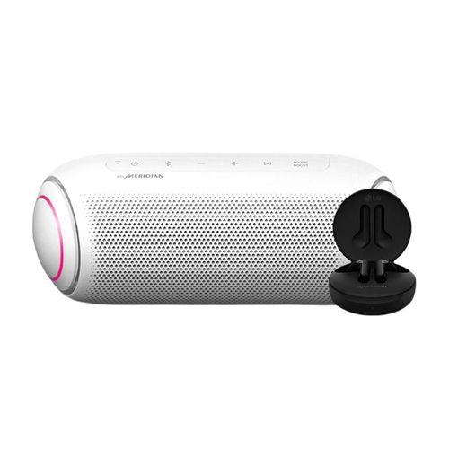 Bocina Bluetooth LG XBOOM Go PL7W Blanca + Audífonos FN4 Negros