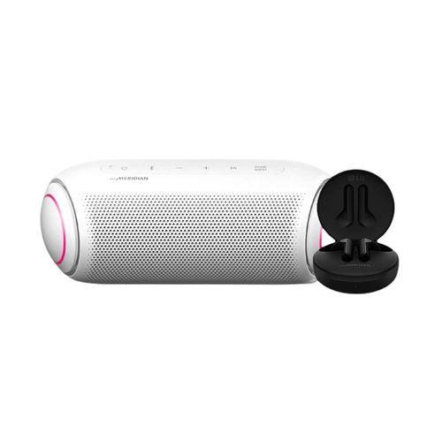 Bocina Bluetooth LG XBOOM Go PL5W Blanca + Audífonos FN4 Negros