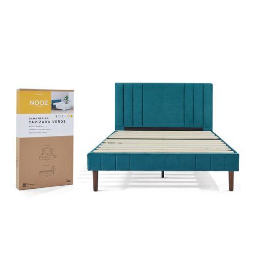 Base de cama Nooz Reflex Tapizada Verde con cabecera, Matrimonial