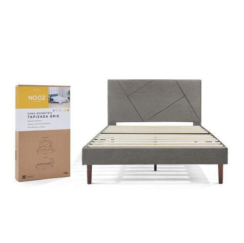 Base de cama Nooz Geometric Tapizada Gris con cabecera, Matrimonial