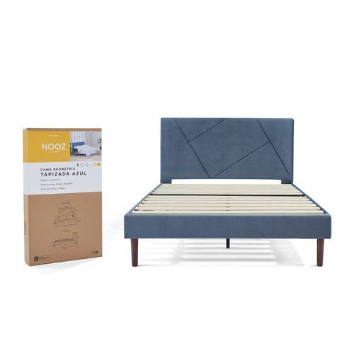 Base de cama Nooz Geometric Tapizada Azul con cabecera, Queen Size