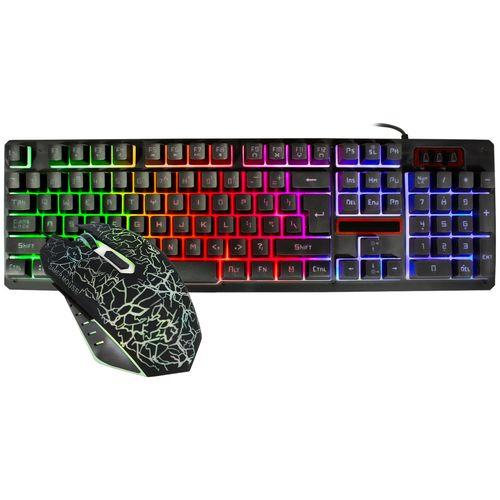 Kit Gamer Xtreme Pc Teclado Mouse USB Iluminado K13 Ingles Negro
