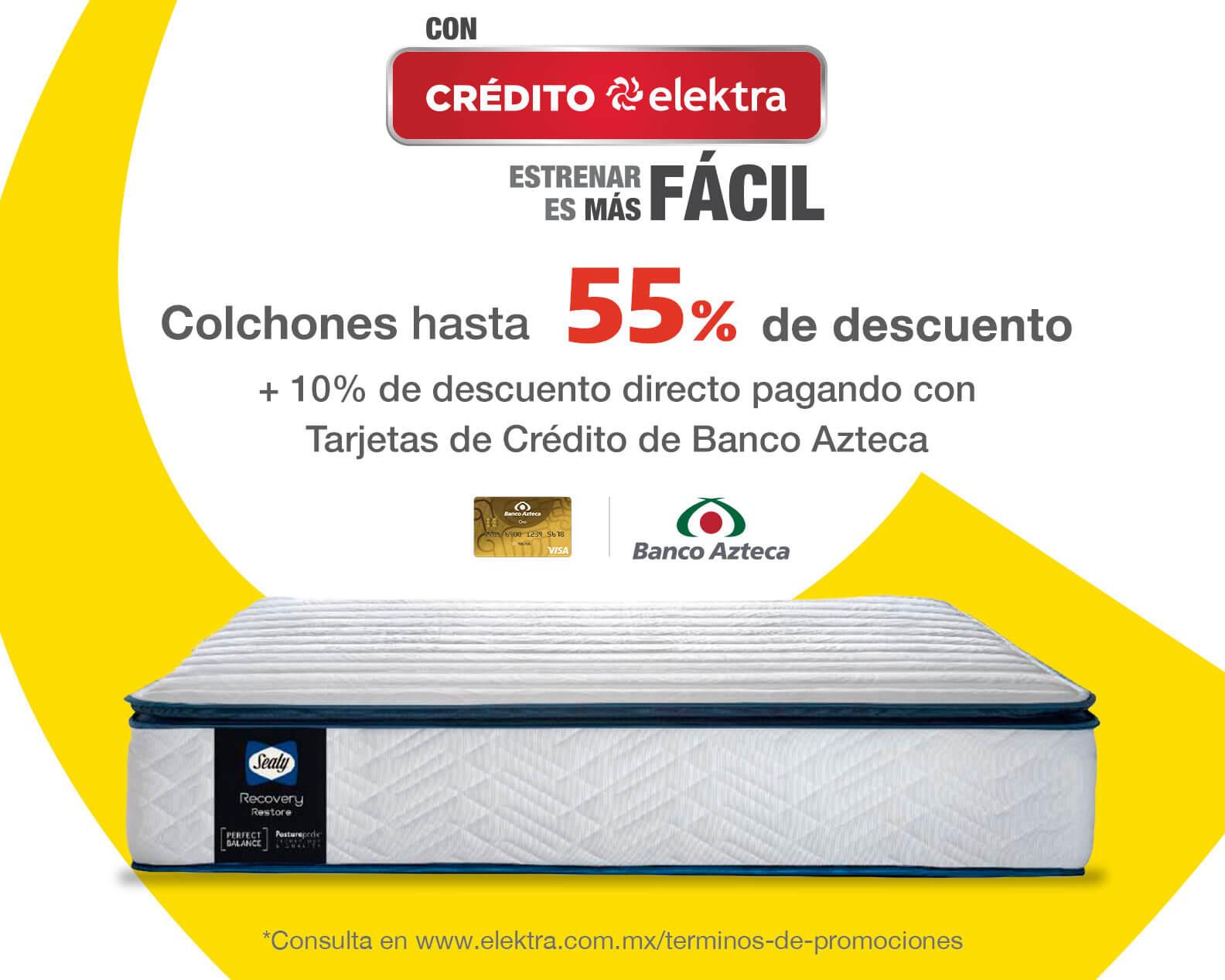 Ofertas en colchones con hasta 60% de descuento pagando con Tarjetas de Crédito de Banco Azteca